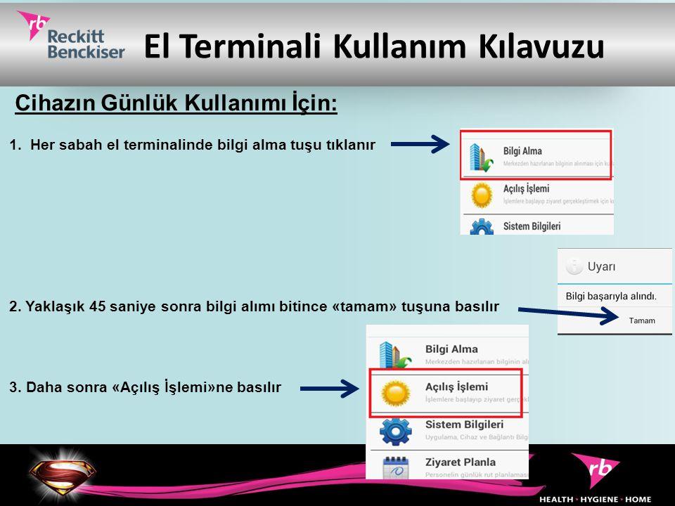 El Terminali Kullanım Kılavuzu 1. Her sabah el terminalinde bilgi alma tuşu tıklanır 2. Yaklaşık 45 saniye sonra bilgi alımı bitince «tamam» tuşuna ba