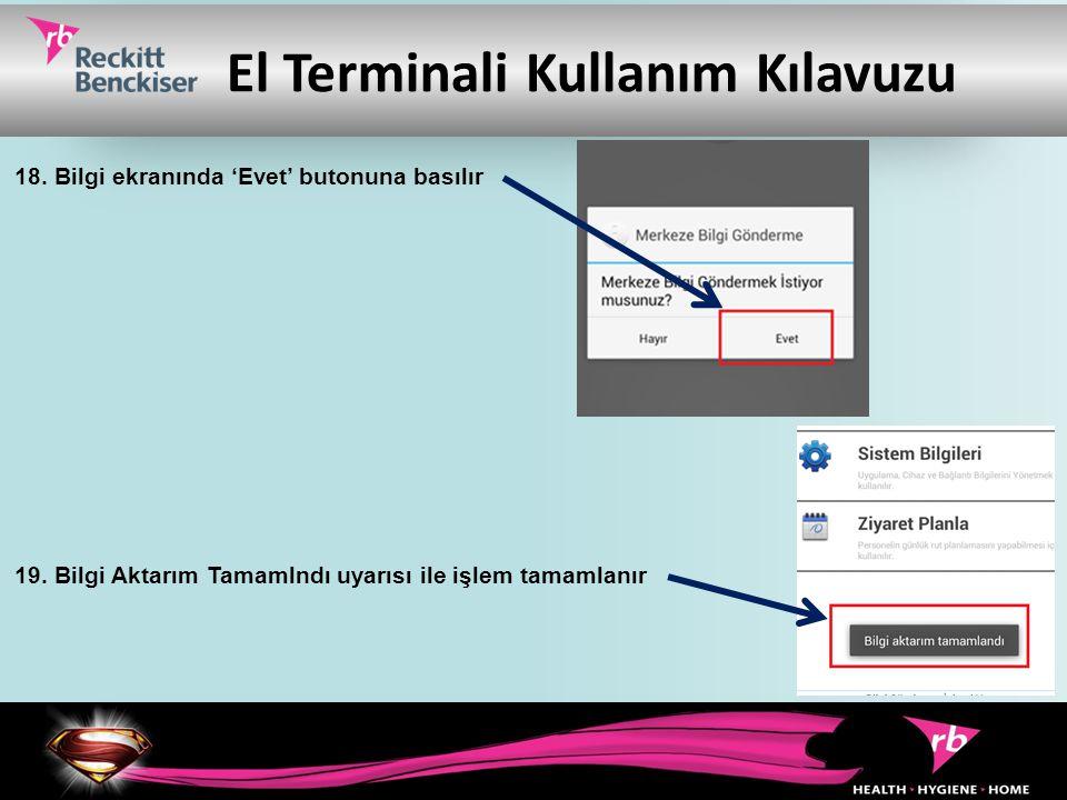 El Terminali Kullanım Kılavuzu 18. Bilgi ekranında 'Evet' butonuna basılır 19. Bilgi Aktarım Tamamlndı uyarısı ile işlem tamamlanır