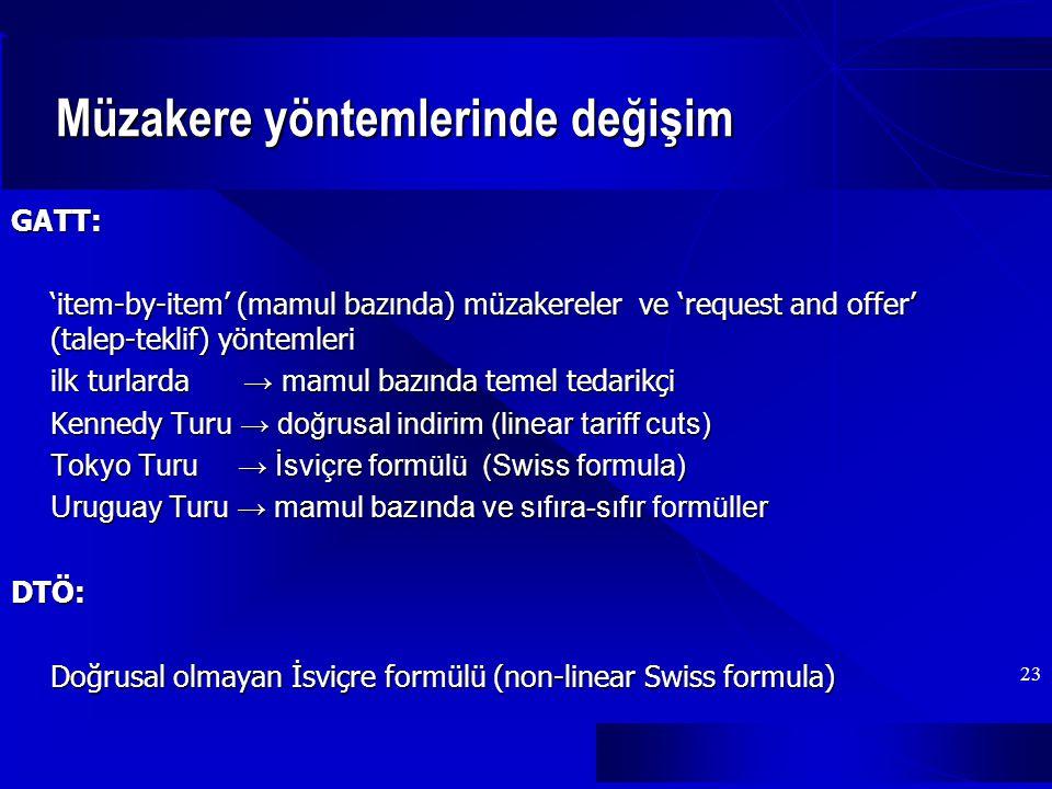 23 Müzakere yöntemlerinde değişim GATT: 'item-by-item' (mamul bazında) müzakereler ve 'request and offer' (talep-teklif) yöntemleri ilk turlarda → mamul bazında temel tedarikçi Kennedy Turu → doğrusal indirim (linear tariff cuts) Tokyo Turu → İsviçre formülü (Swiss formula) Uruguay Turu → mamul bazında ve sıfıra-sıfır formüller DTÖ: Doğrusal olmayan İsviçre formülü (non-linear Swiss formula)