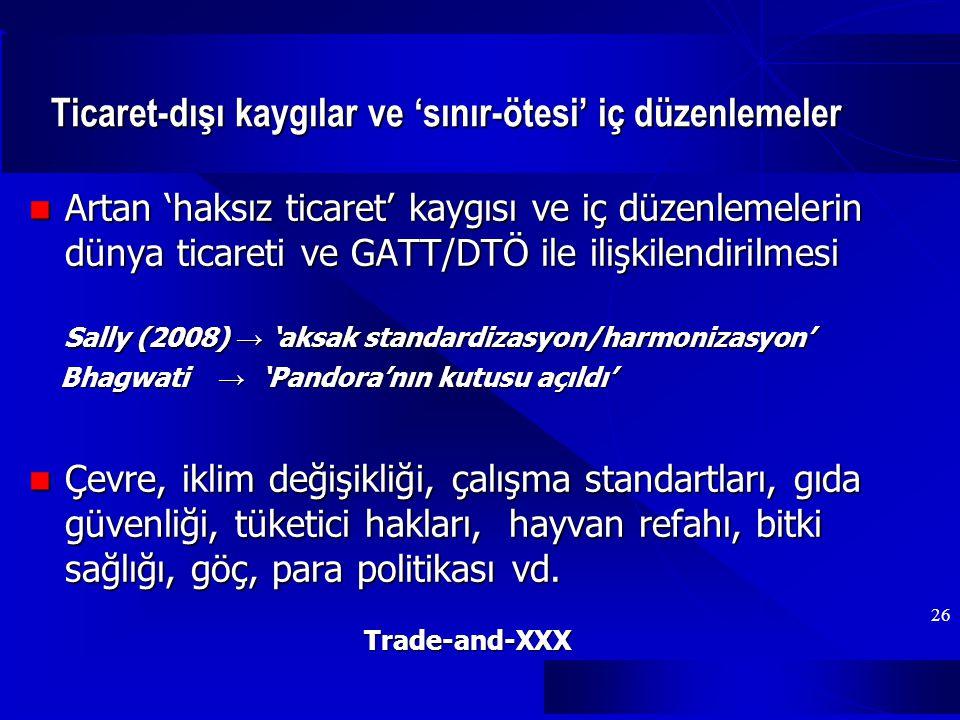 26 Ticaret-dışı kaygılar ve 'sınır-ötesi' iç düzenlemeler Artan 'haksız ticaret' kaygısı ve iç düzenlemelerin dünya ticareti ve GATT/DTÖ ile ilişkilendirilmesi Artan 'haksız ticaret' kaygısı ve iç düzenlemelerin dünya ticareti ve GATT/DTÖ ile ilişkilendirilmesi Sally (2008) → 'aksak standardizasyon/harmonizasyon' Sally (2008) → 'aksak standardizasyon/harmonizasyon' Bhagwati → 'Pandora'nın kutusu açıldı' Bhagwati → 'Pandora'nın kutusu açıldı' Çevre, iklim değişikliği, çalışma standartları, gıda güvenliği, tüketici hakları, hayvan refahı, bitki sağlığı, göç, para politikası vd.