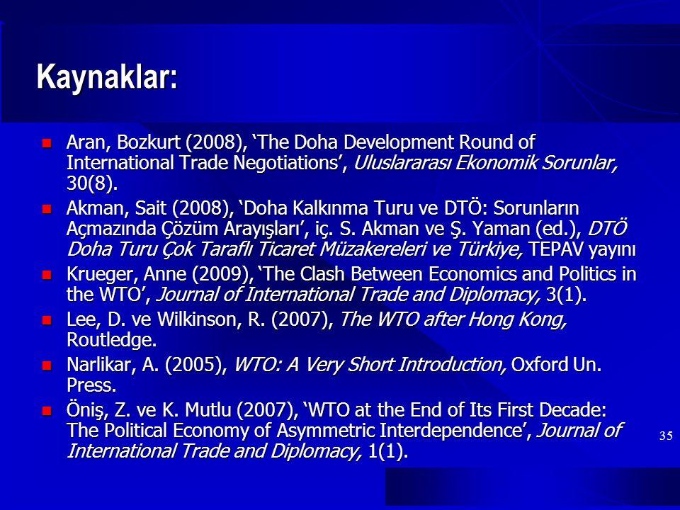 35 Kaynaklar: Aran, Bozkurt (2008), 'The Doha Development Round of International Trade Negotiations', Uluslararası Ekonomik Sorunlar, 30(8).