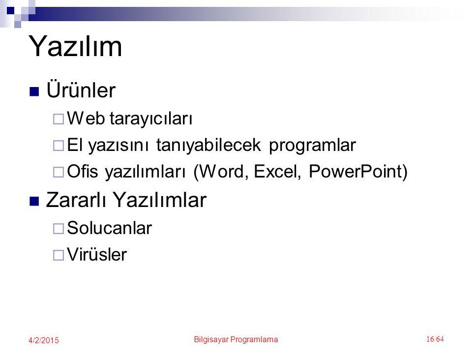 Bilgisayar Programlama 16/64 4/2/2015 Yazılım Ürünler  Web tarayıcıları  El yazısını tanıyabilecek programlar  Ofis yazılımları (Word, Excel, PowerPoint) Zararlı Yazılımlar  Solucanlar  Virüsler