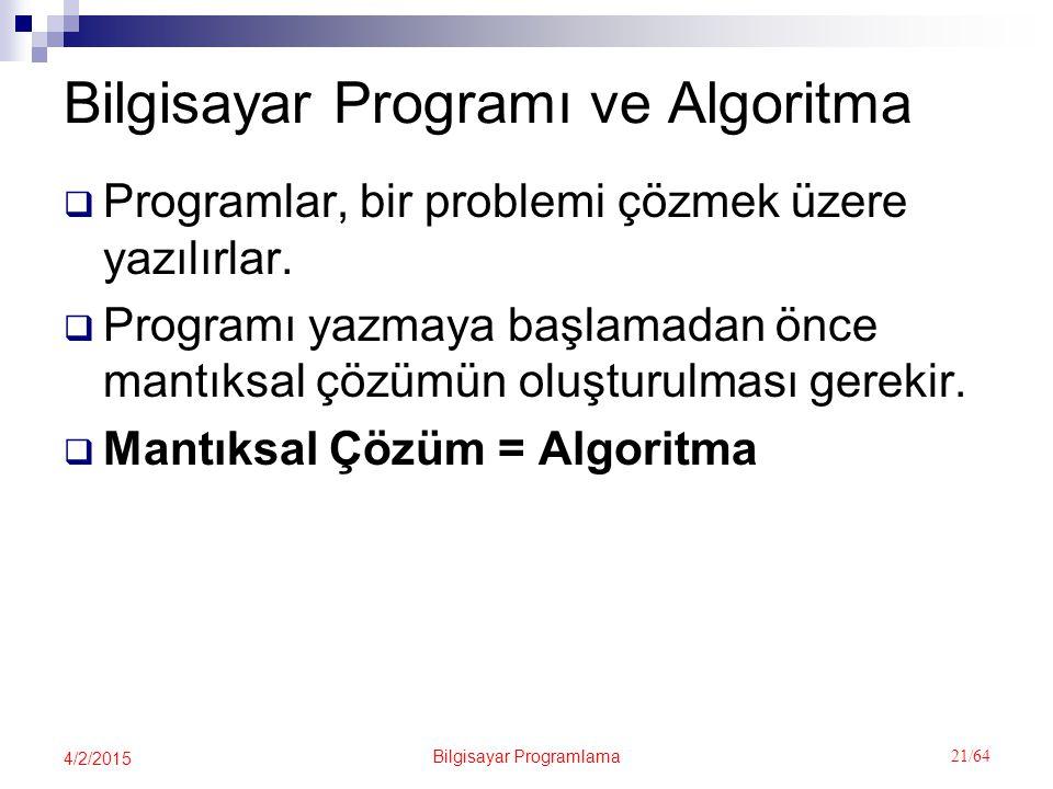 Bilgisayar Programlama 21/64 4/2/2015 Bilgisayar Programı ve Algoritma  Programlar, bir problemi çözmek üzere yazılırlar.