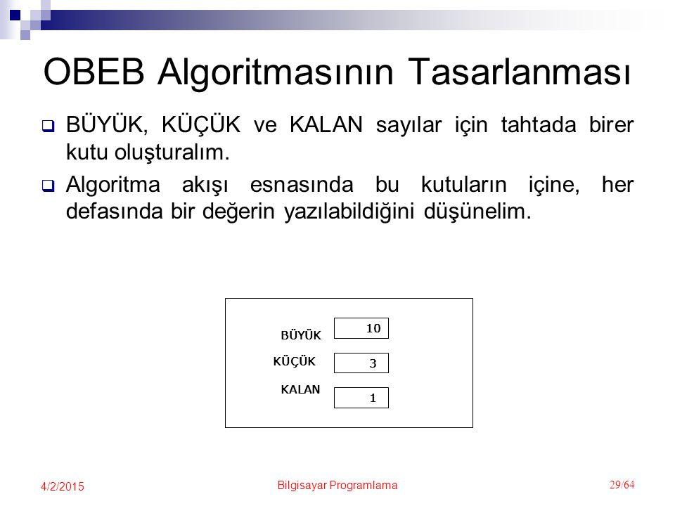Bilgisayar Programlama 29/64 4/2/2015 OBEB Algoritmasının Tasarlanması  BÜYÜK, KÜÇÜK ve KALAN sayılar için tahtada birer kutu oluşturalım.