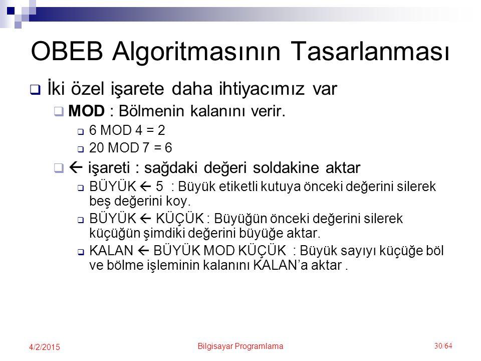 Bilgisayar Programlama 30/64 4/2/2015 OBEB Algoritmasının Tasarlanması  İki özel işarete daha ihtiyacımız var  MOD : Bölmenin kalanını verir.