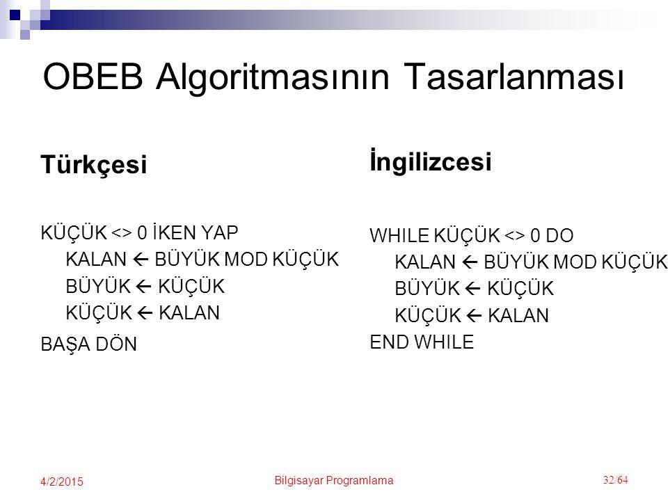Bilgisayar Programlama 32/64 4/2/2015 OBEB Algoritmasının Tasarlanması Türkçesi KÜÇÜK <> 0 İKEN YAP KALAN  BÜYÜK MOD KÜÇÜK BÜYÜK  KÜÇÜK KÜÇÜK  KALAN BAŞA DÖN İngilizcesi WHILE KÜÇÜK <> 0 DO KALAN  BÜYÜK MOD KÜÇÜK BÜYÜK  KÜÇÜK KÜÇÜK  KALAN END WHILE
