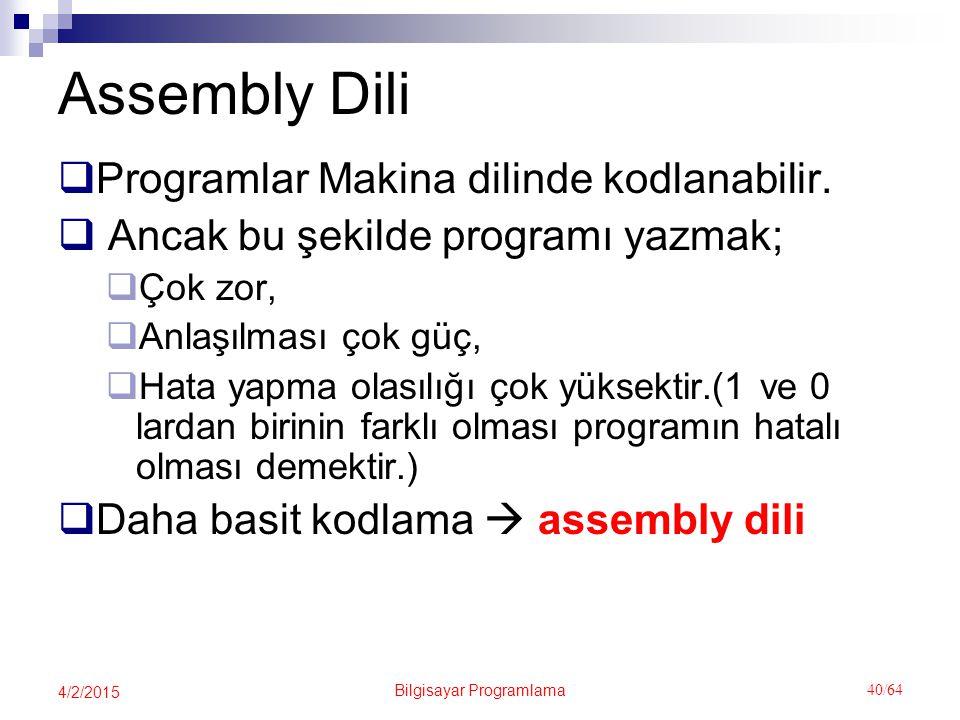 Bilgisayar Programlama 40/64 4/2/2015 Assembly Dili  Programlar Makina dilinde kodlanabilir.