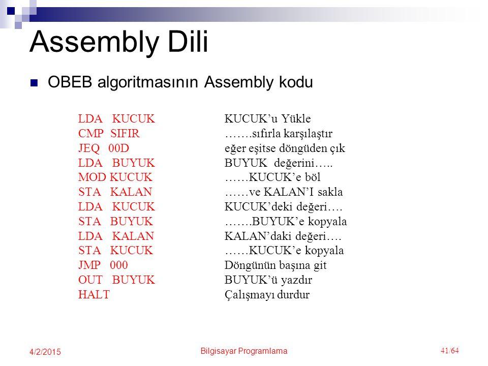 Bilgisayar Programlama 41/64 4/2/2015 Assembly Dili OBEB algoritmasının Assembly kodu LDA KUCUKKUCUK'u Yükle CMP SIFIR…….sıfırla karşılaştır JEQ 00Değer eşitse döngüden çık LDA BUYUKBUYUK değerini…..