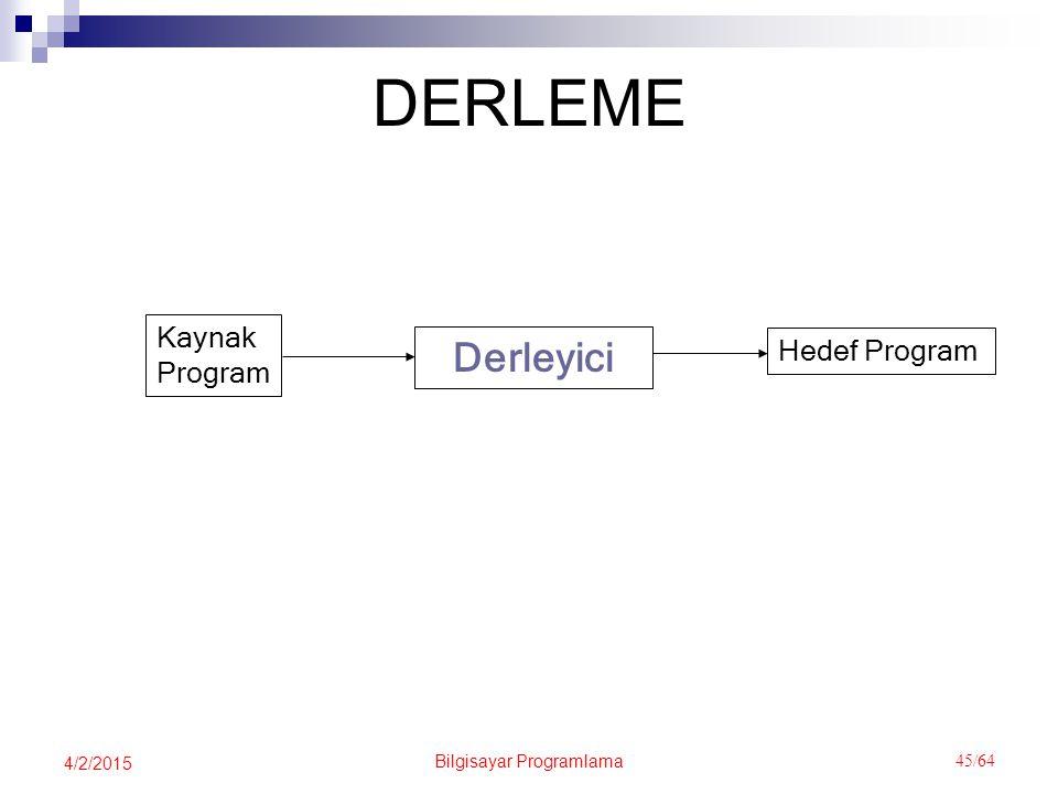 Bilgisayar Programlama 45/64 4/2/2015 DERLEME Derleyici Kaynak Program Hedef Program