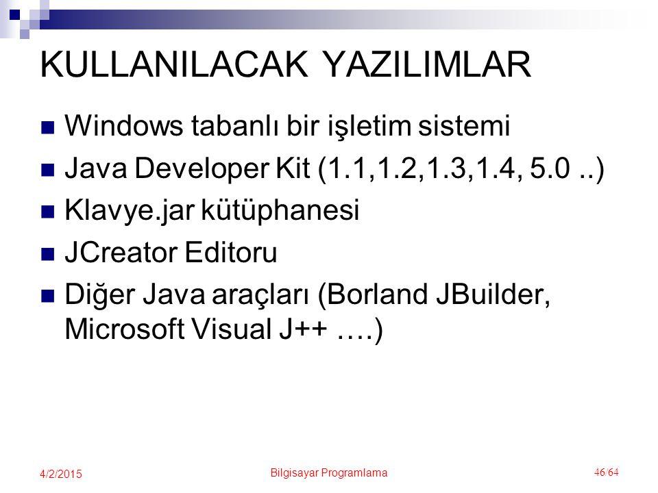 Bilgisayar Programlama 46/64 4/2/2015 KULLANILACAK YAZILIMLAR Windows tabanlı bir işletim sistemi Java Developer Kit (1.1,1.2,1.3,1.4, 5.0..) Klavye.jar kütüphanesi JCreator Editoru Diğer Java araçları (Borland JBuilder, Microsoft Visual J++ ….)