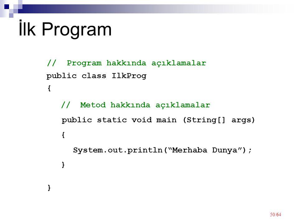 50/64 İlk Program public class IlkProg {}{} // Program hakkında açıklamalar public static void main (String[] args) {}{} // Metod hakkında açıklamalar System.out.println( Merhaba Dunya );