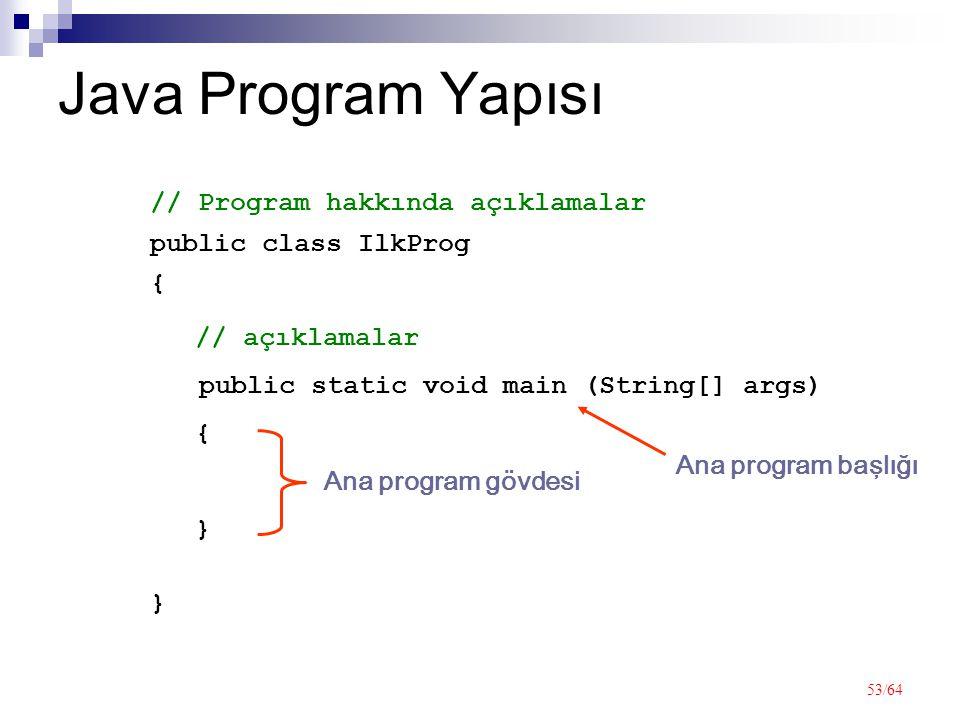 53/64 Java Program Yapısı public class IlkProg {}{} // Program hakkında açıklamalar public static void main (String[] args) {}{} // açıklamalar Ana program başlığı Ana program gövdesi