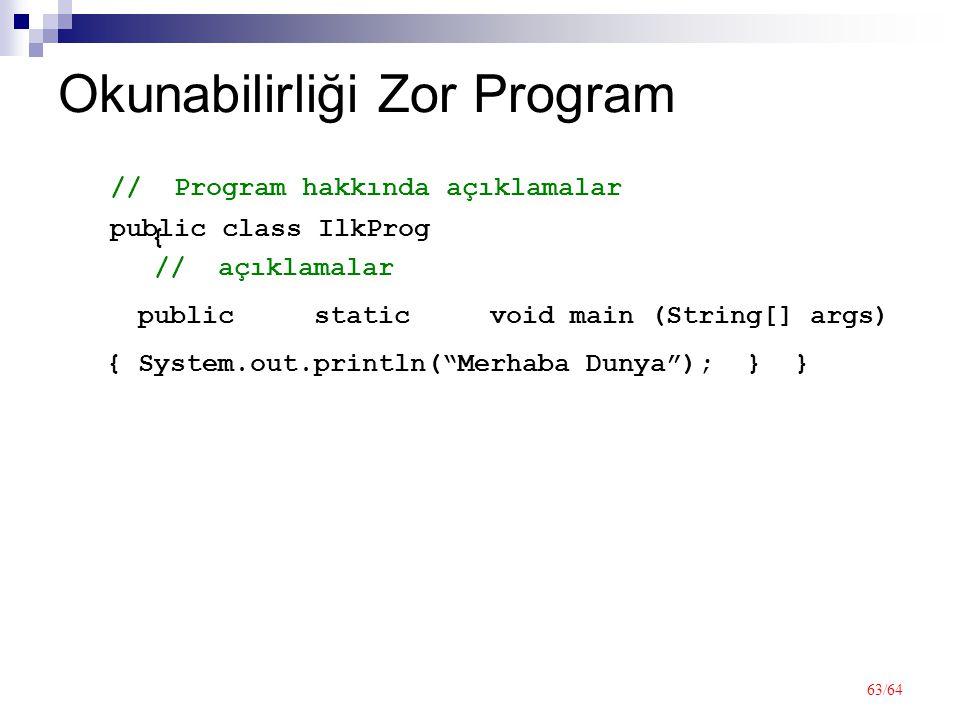63/64 Okunabilirliği Zor Program public class IlkProg { // Program hakkında açıklamalar public static void main (String[] args) // açıklamalar { System.out.println( Merhaba Dunya ); } }