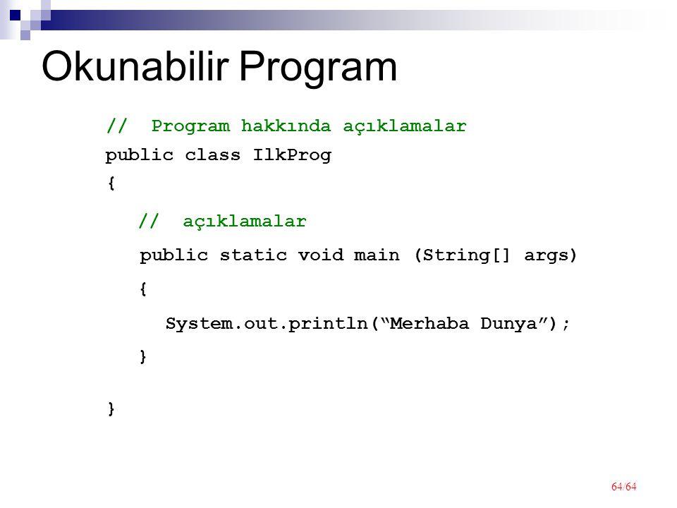64/64 Okunabilir Program public class IlkProg {}{} // Program hakkında açıklamalar public static void main (String[] args) {}{} // açıklamalar System.out.println( Merhaba Dunya );