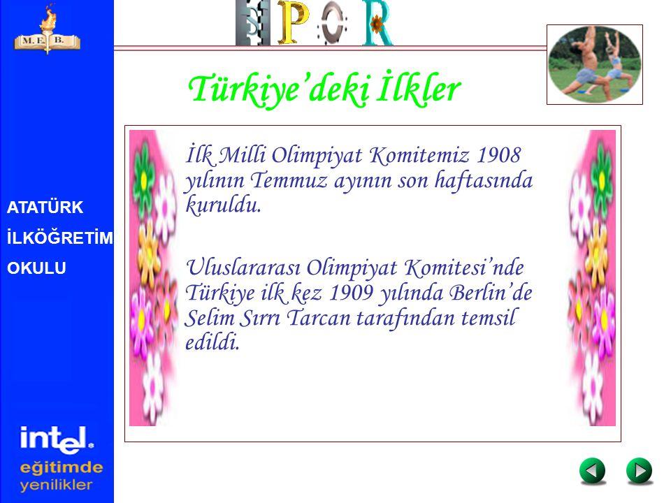 ATATÜRK İLKÖĞRETİM OKULU Türkiye'deki İlkler İlk Milli Olimpiyat Komitemiz 1908 yılının Temmuz ayının son haftasında kuruldu. Uluslararası Olimpiyat K