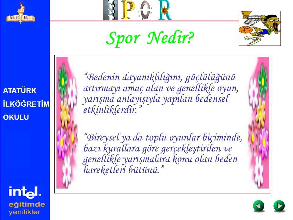 ATATÜRK İLKÖĞRETİM OKULU Kaynaklar http://www.ntvmsnbc.com/news/Healt h_Front.asp http://www.sporbilim.com/spor.html http://saglik.tr.net/spor_ve_saglik.sht ml http://turkbilim1.sitemynet.com/anilar/ anilar.htm