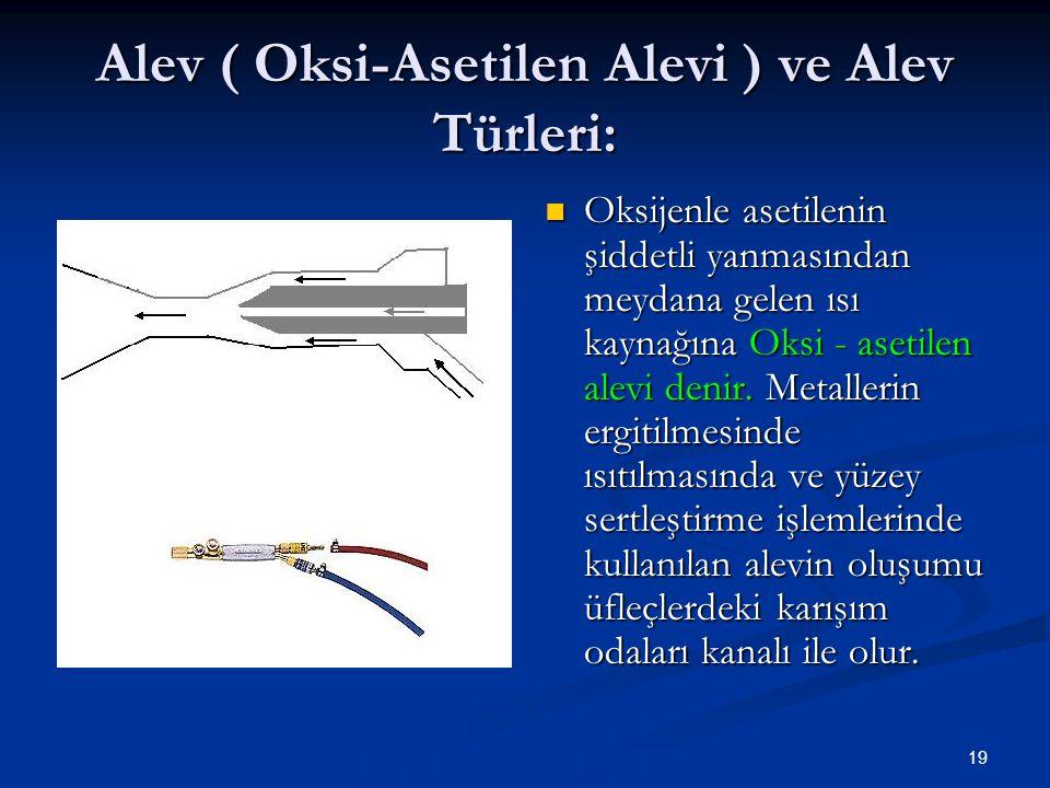 19 Alev ( Oksi-Asetilen Alevi ) ve Alev Türleri: Oksijenle asetilenin şiddetli yanmasından meydana gelen ısı kaynağına Oksi - asetilen alevi denir. Me