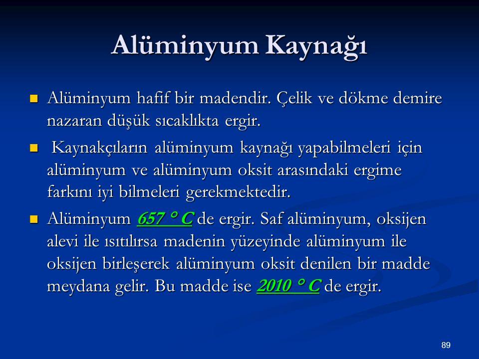 89 Alüminyum Kaynağı Alüminyum hafif bir madendir. Çelik ve dökme demire nazaran düşük sıcaklıkta ergir. Alüminyum hafif bir madendir. Çelik ve dökme