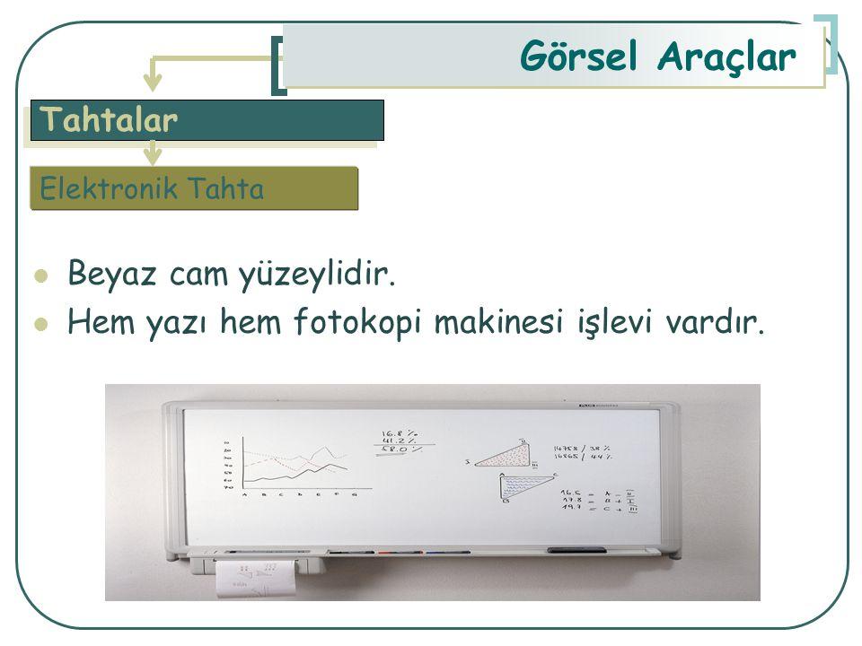 Tahtalar Görsel Araçlar Beyaz cam yüzeylidir. Hem yazı hem fotokopi makinesi işlevi vardır. Elektronik Tahta