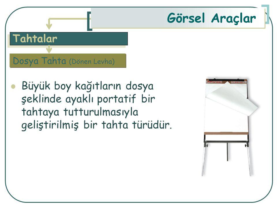 Tahtalar Görsel Araçlar Büyük boy kağıtların dosya şeklinde ayaklı portatif bir tahtaya tutturulmasıyla geliştirilmiş bir tahta türüdür. Dosya Tahta (