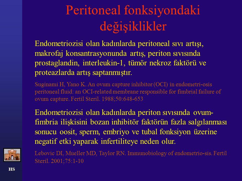 HS (5) Donör sperm ile IUI vakalarında, normal pelvisi olan kadınlara göre hafif endometriozisi olanlarda aylık fekondite oranı ve kümülatif gebelik oranında azalma saptanmıştır.