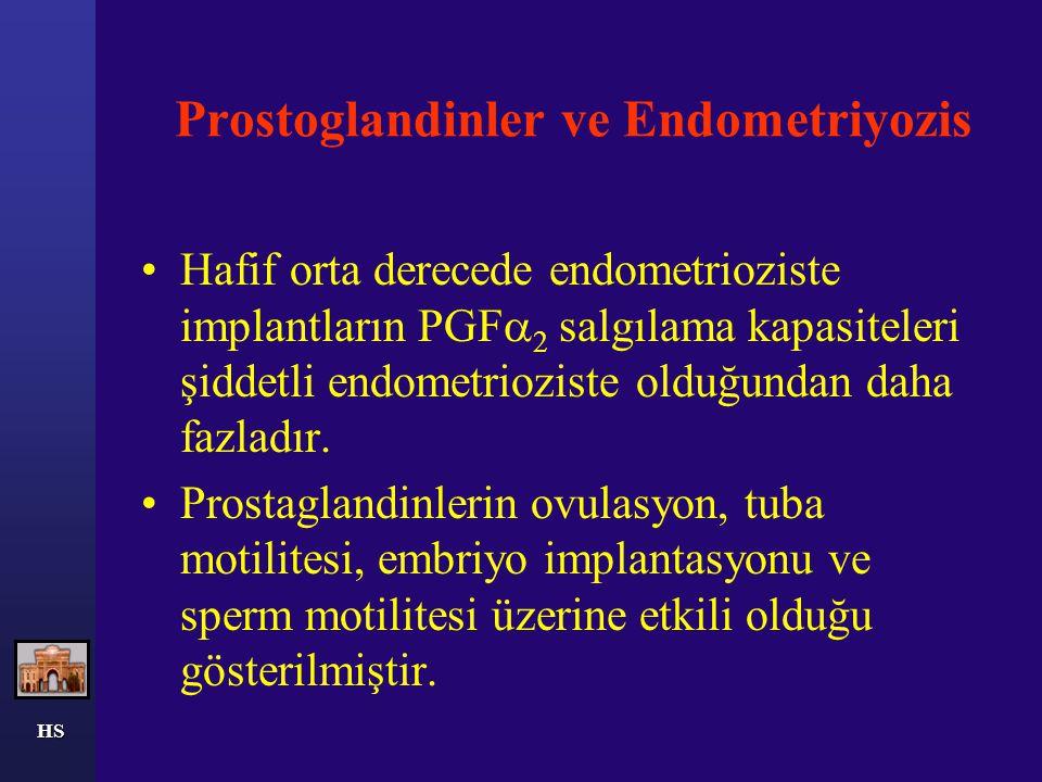 HS Peritoneal fonksiyondaki değişiklikler Endometriozisi olan kadınlarda peritoneal sıvı artışı, makrofaj konsantrasyonunda artış, periton sıvısında prostaglandin, interleukin-1, tümör nekroz faktörü ve proteazlarda artış saptanmıştır.
