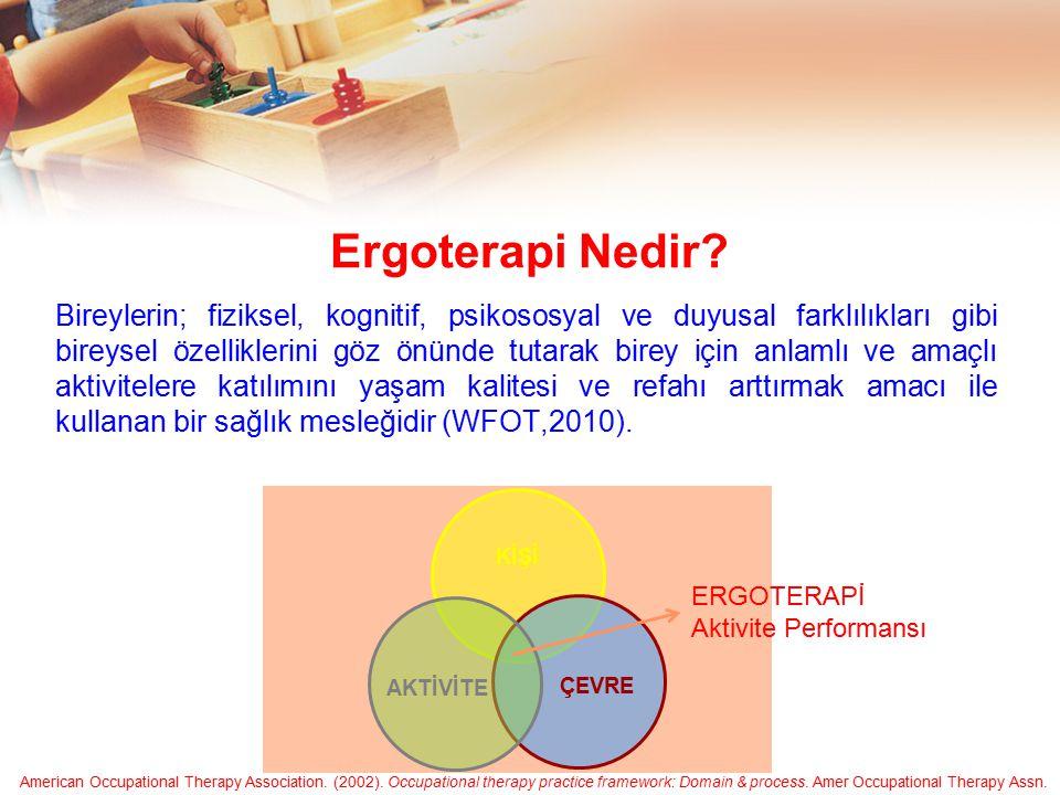 Ergoterapi Nedir? Bireylerin; fiziksel, kognitif, psikososyal ve duyusal farklılıkları gibi bireysel özelliklerini göz önünde tutarak birey için anlam