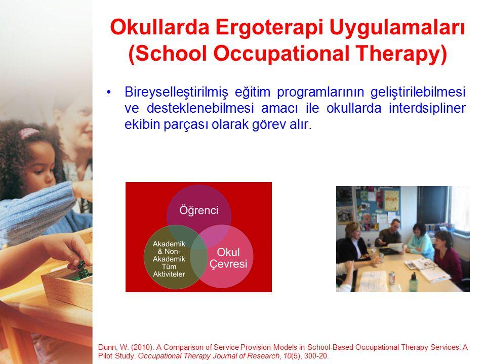 Okullarda Ergoterapi Uygulamaları (School Occupational Therapy) Bireyselleştirilmiş eğitim programlarının geliştirilebilmesi ve desteklenebilmesi amac