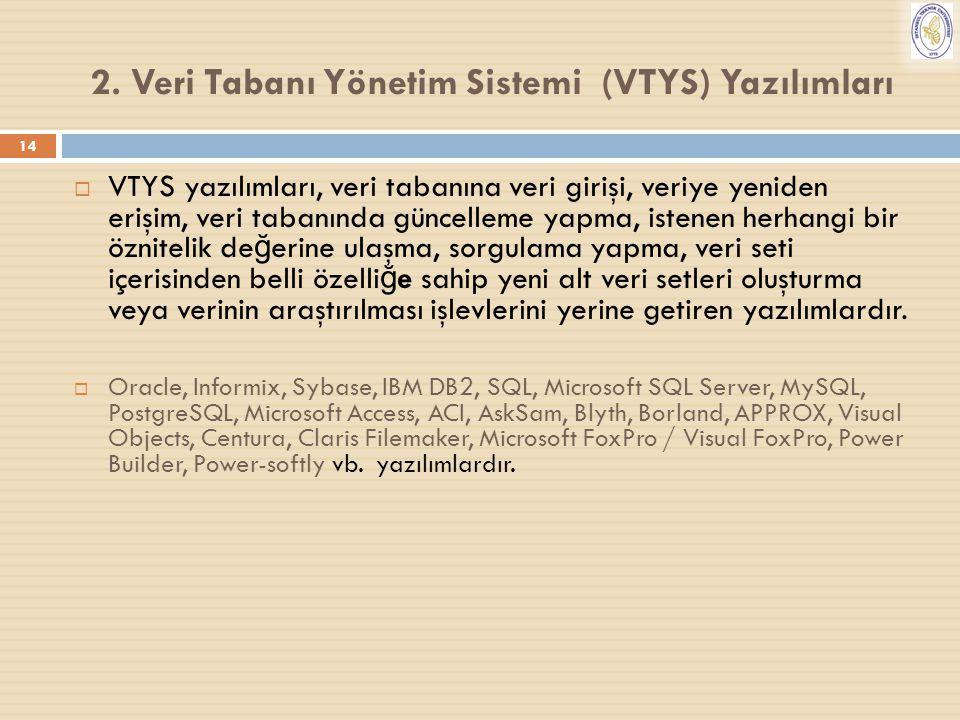 14 2. Veri Tabanı Yönetim Sistemi (VTYS) Yazılımları  VTYS yazılımları, veri tabanına veri girişi, veriye yeniden erişim, veri tabanında güncelleme y