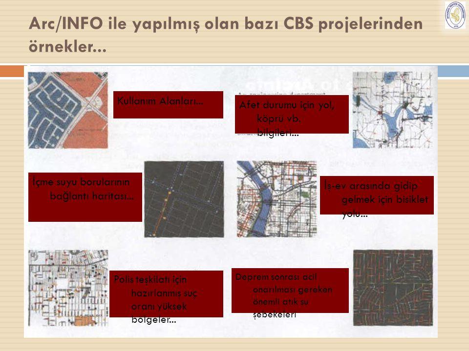 28 Arc/INFO ile yapılmış olan bazı CBS projelerinden örnekler... Kullanım Alanları... İ çme suyu borularının ba ğ lantı haritası... Polis teşkilatı iç