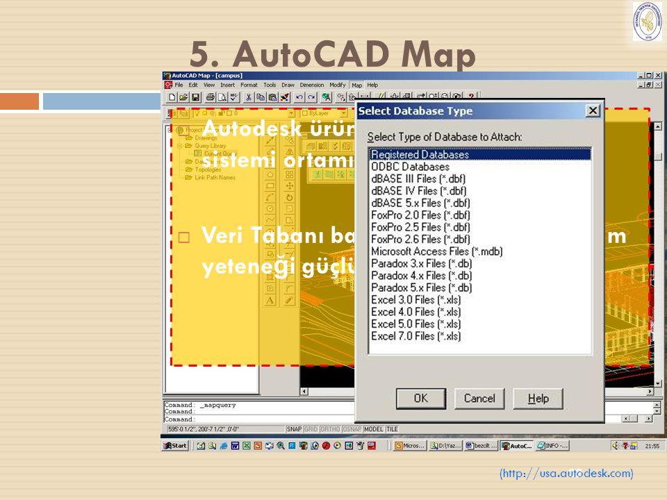 32 5. AutoCAD Map  Autodesk ürünüdür. Windows işletim sistemi ortamında çalışmaktadır.  Veri Tabanı ba ğ lantıları ve 3D gösterim yetene ğ i güçlü b