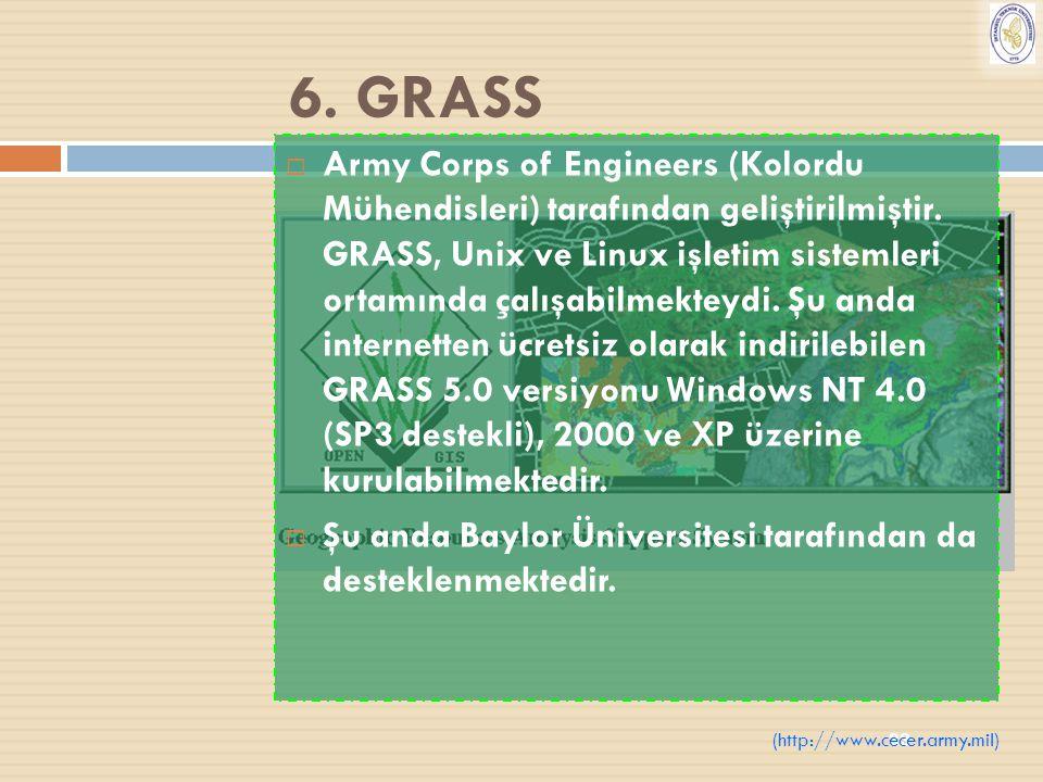 33 6. GRASS  Army Corps of Engineers (Kolordu Mühendisleri) tarafından geliştirilmiştir. GRASS, Unix ve Linux işletim sistemleri ortamında çalışabilm