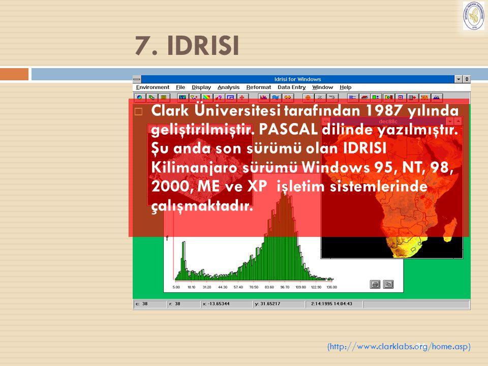 34 7. IDRISI  Clark Üniversitesi tarafından 1987 yılında geliştirilmiştir. PASCAL dilinde yazılmıştır. Şu anda son sürümü olan IDRISI Kilimanjaro sür