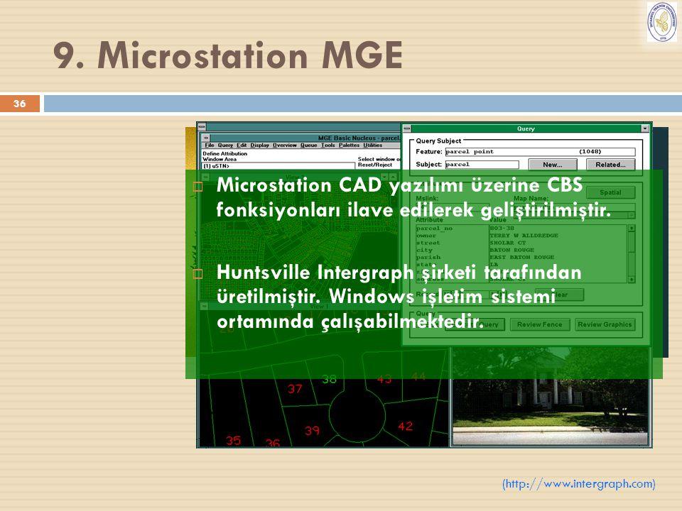 36 9. Microstation MGE  Microstation CAD yazılımı üzerine CBS fonksiyonları ilave edilerek geliştirilmiştir.  Huntsville Intergraph şirketi tarafınd