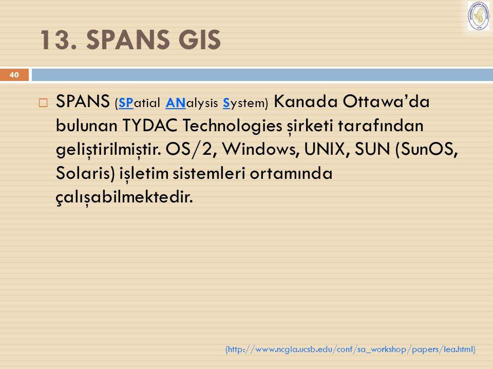 40 13. SPANS GIS  SPANS (SPatial ANalysis System) Kanada Ottawa'da bulunan TYDAC Technologies şirketi tarafından geliştirilmiştir. OS/2, Windows, UNI