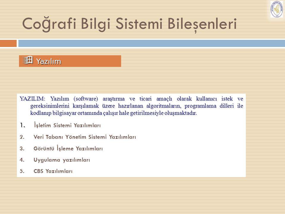 Co ğ rafi Bilgi Sistemi Bileşenleri  Yazılım YAZILIM: Yazılım (software) araştırma ve ticari amaçlı olarak kullanıcı istek ve gereksinimlerini karşıl