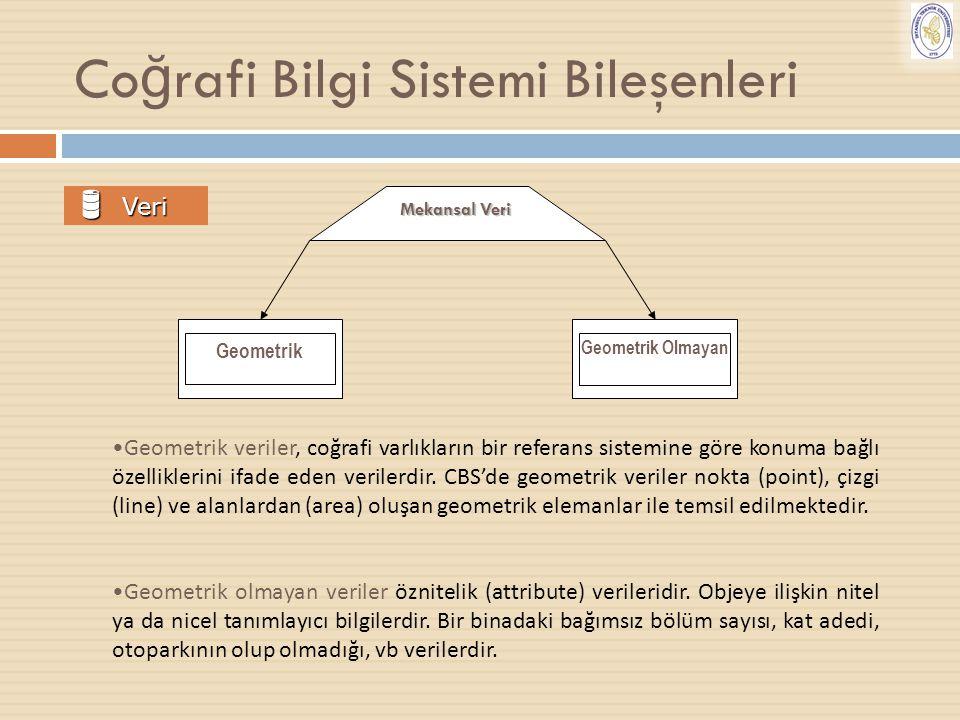 Co ğ rafi Bilgi Sistemi Bileşenleri  Veri Geometrik veriler, coğrafi varlıkların bir referans sistemine göre konuma bağlı özelliklerini ifade eden ve