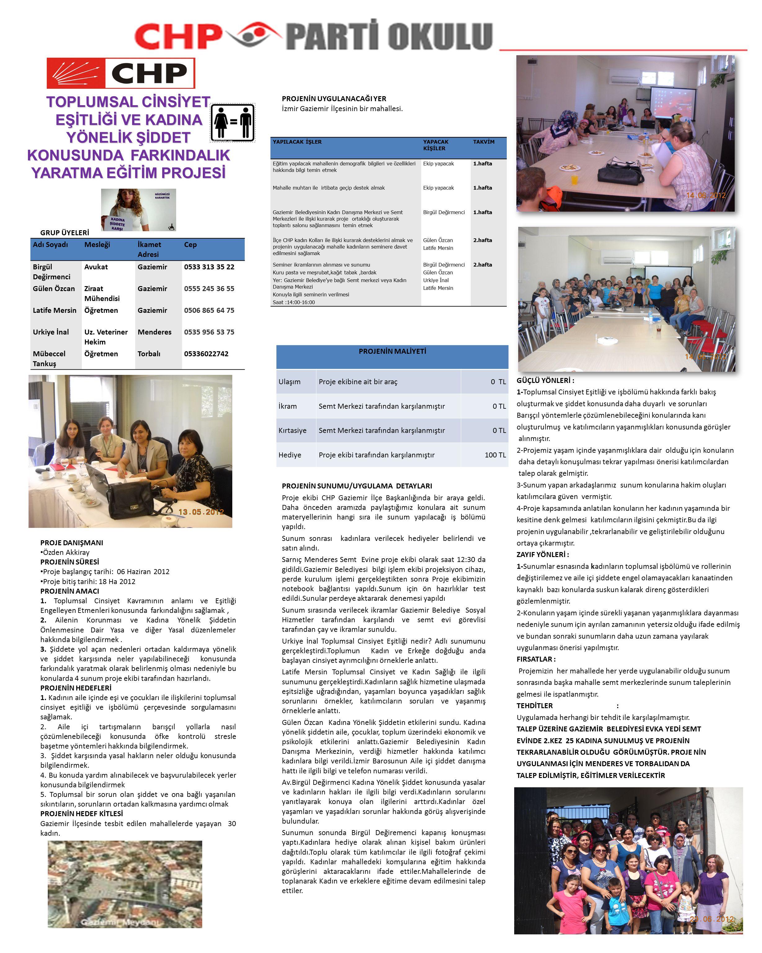 GRUP ÜYELERİ PROJE DANIŞMANI Özden Akkiray PROJENİN SÜRESİ Proje başlangıç tarihi: 06 Haziran 2012 Proje bitiş tarihi: 18 Ha 2012 PROJENİN AMACI 1.