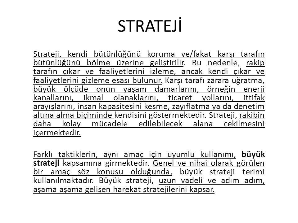 STRATEJİ Strateji, kendi bütünlüğünü koruma ve/fakat karşı tarafın bütünlüğünü bölme üzerine geliştirilir. Bu nedenle, rakip tarafın çıkar ve faaliyet