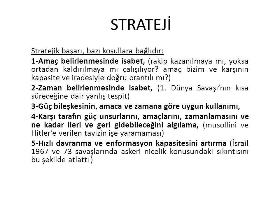 STRATEJİ Stratejik başarı, bazı koşullara bağlıdır: 1-Amaç belirlenmesinde isabet, (rakip kazanılmaya mı, yoksa ortadan kaldırılmaya mı çalışılıyor? a