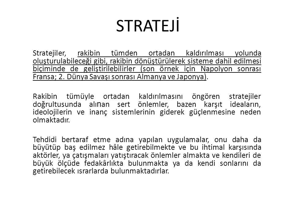 STRATEJİ Stratejiler, rakibin tümden ortadan kaldırılması yolunda oluşturulabileceği gibi, rakibin dönüştürülerek sisteme dahil edilmesi biçiminde de geliştirilebilirler (son örnek için Napolyon sonrası Fransa; 2.