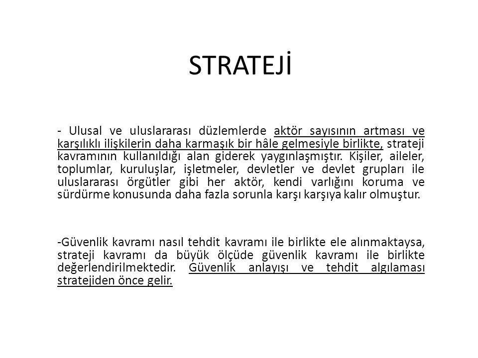 STRATEJİ - Ulusal ve uluslararası düzlemlerde aktör sayısının artması ve karşılıklı ilişkilerin daha karmaşık bir hâle gelmesiyle birlikte, strateji kavramının kullanıldığı alan giderek yaygınlaşmıştır.