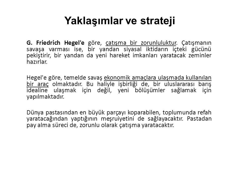 G. Friedrich Hegel'e göre, çatışma bir zorunluluktur. Çatışmanın savaşa varması ise, bir yandan siyasal iktidarın içteki gücünü pekiştirir, bir yandan