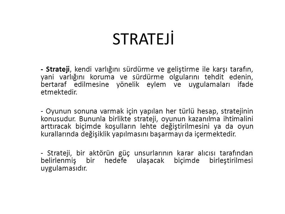 STRATEJİ - Strateji, kendi varlığını sürdürme ve geliştirme ile karşı tarafın, yani varlığını koruma ve sürdürme olgularını tehdit edenin, bertaraf edilmesine yönelik eylem ve uygulamaları ifade etmektedir.