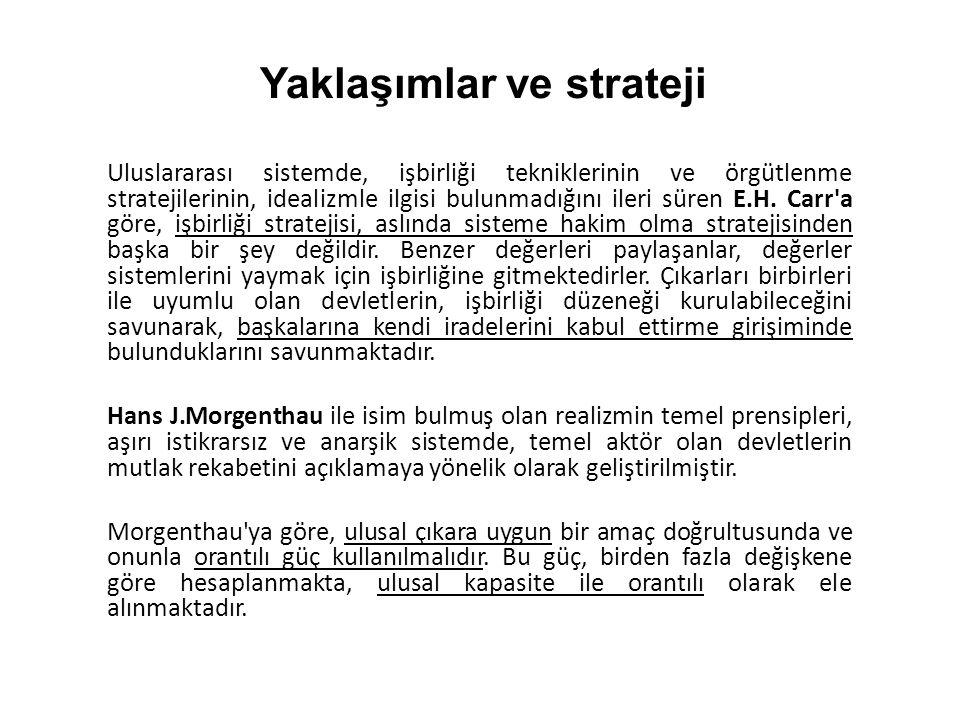 Uluslararası sistemde, işbirliği tekniklerinin ve örgütlenme stratejilerinin, idealizmle ilgisi bulunmadığını ileri süren E.H.