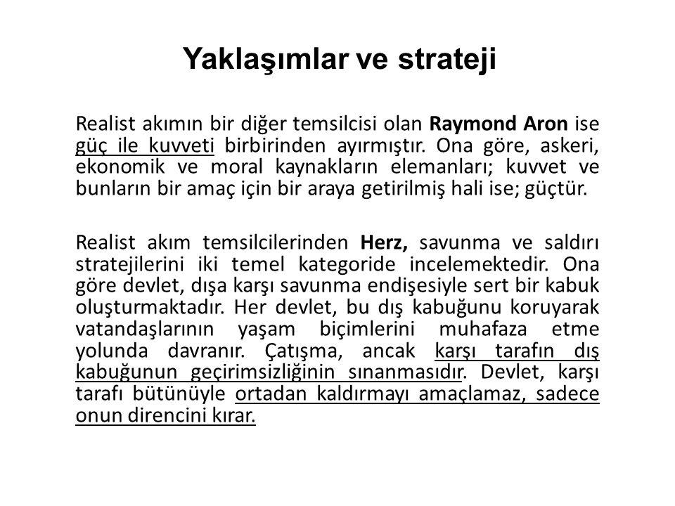 Realist akımın bir diğer temsilcisi olan Raymond Aron ise güç ile kuvveti birbirinden ayırmıştır. Ona göre, askeri, ekonomik ve moral kaynakların elem