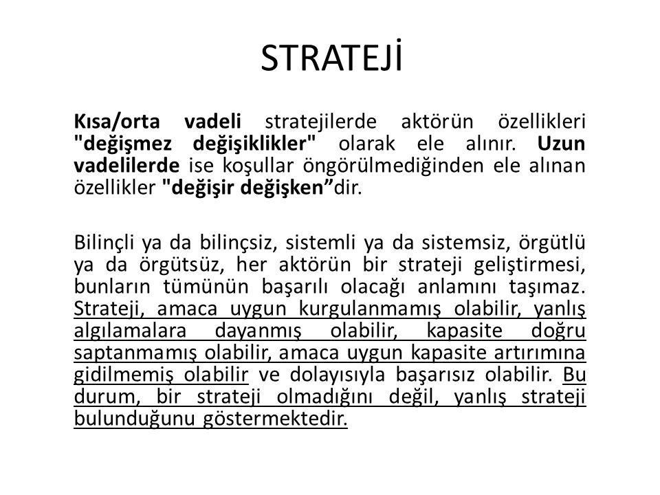 STRATEJİ Kısa/orta vadeli stratejilerde aktörün özellikleri değişmez değişiklikler olarak ele alınır.