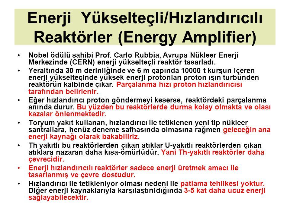 Enerji Yükselteçli/Hızlandırıcılı Reaktörler (Energy Amplifier) Nobel ödülü sahibi Prof. Carlo Rubbia, Avrupa Nükleer Enerji Merkezinde (CERN) enerji