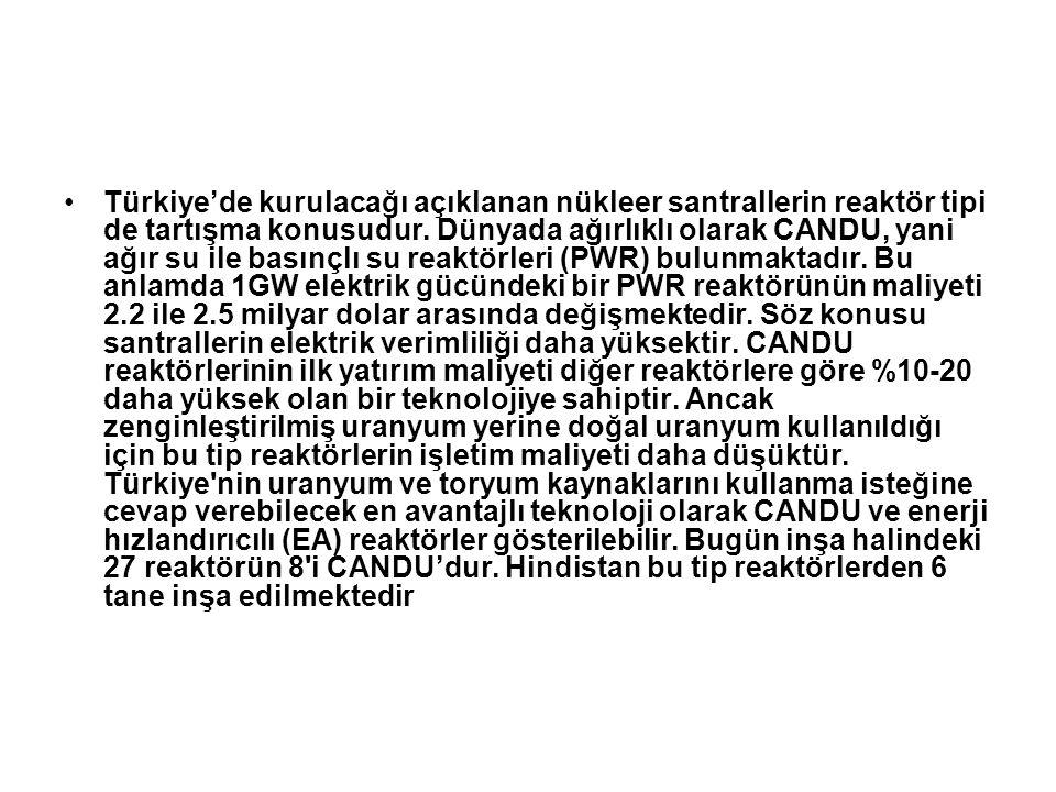 Türkiye'de kurulacağı açıklanan nükleer santrallerin reaktör tipi de tartışma konusudur. Dünyada ağırlıklı olarak CANDU, yani ağır su ile basınçlı su