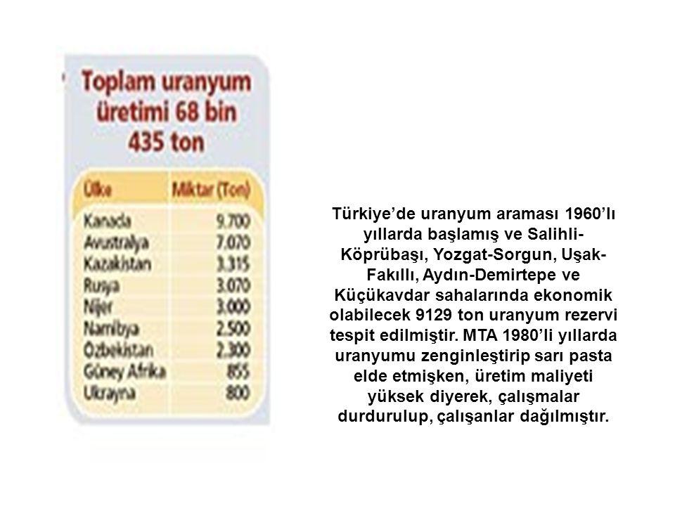 Türkiye'de uranyum araması 1960'lı yıllarda başlamış ve Salihli- Köprübaşı, Yozgat-Sorgun, Uşak- Fakıllı, Aydın-Demirtepe ve Küçükavdar sahalarında ek